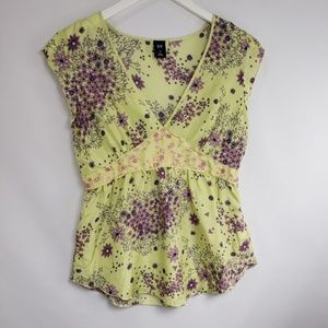 GAP Yellow Satin Floral Empire Blouse
